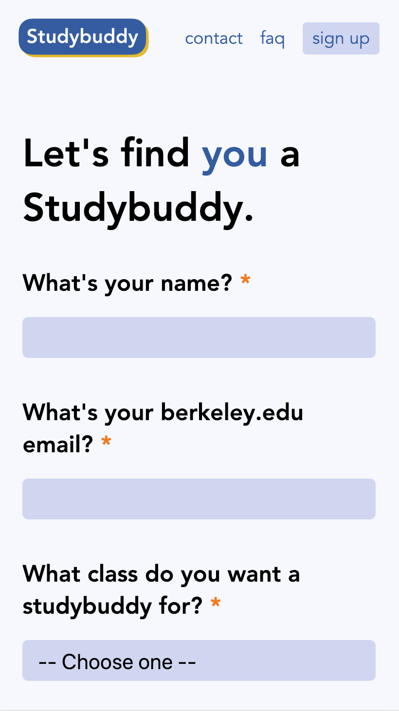 Studybuddy sign-up
